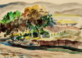 Texas, PETER HURD (American, 1904-1984). Landscape. Watercolor onpaper. 5 x 7 inches (12.7 x 17.8 cm). Signed and inscribed lo...