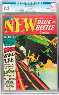 Blue Beetle #21 Vancouver pedigree (Fox Features Syndicate, 1943) CGC NM- 9.2 White pages
