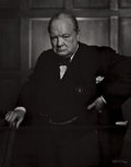 Photographs, YOUSUF KARSH (Canadian, 1908-2002). Winston Churchill, 1941. Gelatin silver, circa 1950. 19-3/4 x 15-3/8 inches (50.2 x ...
