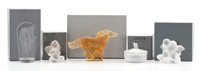 FROM THE ESTATE OF SHIRLEY JACOBS ALTER  LALIQUE Five sculptural works, including 'Cheval Kazak Cabre', 'Deu