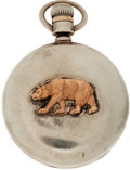 Western Expansion:Goldrush, Louis Weule San Francisco Watch with Coin Silver Case and LargeRose Gold California Bear, Circa 1906. ...