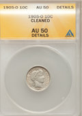 Barber Dimes: , 1905-O 10C --Cleaned--ANACS. AU50 Details. NGC Census: (0/58). PCGSPopulation (0/134). Mintage: 3,400,000. Numismedia Wsl. ...