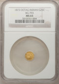 California Fractional Gold, 1873 25C Indian Octagonal 25 Cents, BG-793, R.5, MS65 NGC....