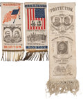 Political:Ribbons & Badges, Benjamin Harrison and Levi Morton: Nice Trio of Jugate Ribbons.... (Total: 3 Items)