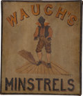 Antiques:Posters & Prints, Folk Art Minstrels Trade Sign on Stretcher....
