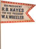 Political:Textile Display (pre-1896), Hayes & Wheeler: Swallow-Tail Pennant....