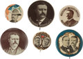 Political:Pinback Buttons (1896-present), McKinley & Roosevelt: Six Interesting Campaign Buttons.... (Total: 6 Items)