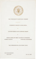 Political:Small Paper (1896-present), John F. Kennedy: The Rare Menu from His May 19, 1962, BirthdayDinner, an Intimate Affair Which Followed the Legendary Mad...