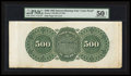 Large Size:Demand Notes, Hessler 1342 Fr. 205 $500 1863 Interest Bearing Note Back ColorProof PMG About Uncirculated 50 Net.. ...