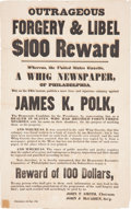 Political:Posters & Broadsides (pre-1896), James K. Polk as a Slave Dealer??: A Great 1844 Campaign Broadside!...