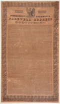 Political:Textile Display (pre-1896), Andrew Jackson: His Farewell Address Printed on Silk....