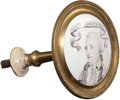 Political:3D & Other Display (pre-1896), George Washington: A Classic Battersea Enameled Brass Curtain Tie-Back or Drawer Pull. ...