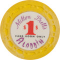 """Miscellaneous:Gaming Chips, Milton Prell's Aladdin: An Extremely Rare First Series """"Card RoomOnly"""" $1.00 Chip. ..."""