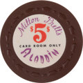 """Milton Prell's Aladdin: An Extremely Rare First Series """"Card Room Only"""" $5.00 Chip"""