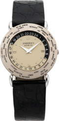 Timepieces:Wristwatch, Svend Andersen White Gold World Time Automatic Wristwatch, circa 1990's. ...