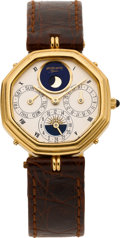 Timepieces:Wristwatch, Gerald Genta Fine Astronomic Gold Automatic Wristwatch With 24 HourIndication, circa 1990's. ...