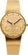 Timepieces:Wristwatch, Lucien Piccard Gold Coin Form Wristwatch, circa 1980's. ...
