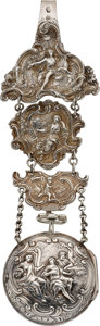 Timepieces:Pocket (pre 1900) , Dawson London Repousse Verge With Chatelaine, circa 1790. ...