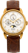 Timepieces:Wristwatch, Movado Gold Astronomic Perpetual Calendar Wristwatch Ref. 40.B3.881. ...