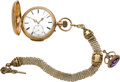 Timepieces:Pocket (pre 1900) , Swiss Gold Minute Repeating Pocket Watch & Chain, circa 1890's....