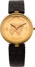 Timepieces:Wristwatch, Fred, Paris, Rare Hong Kong Gold Coin Wristwatch By Gerald Genta,circa 1994. ...