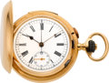 Timepieces:Pocket (pre 1900) , Swiss Gold Minute Repeater With Chronograph, circa 1890. ...