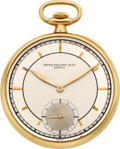 Timepieces:Pocket (post 1900), Patek Philippe 18k Gold Pocket Watch, circa 1925. ...