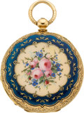 Timepieces:Pocket (pre 1900) , Swiss Gold & Enamel Demi-Hunter, circa 1860. ...
