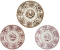 Antiques:Decorative Americana, Texian Campaigne Historical Staffordshire China: Group of ThreePlates. ... (Total: 3 Items)