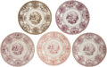 Antiques:Decorative Americana, Texian Campaigne Historical Staffordshire China: Group of FivePlates. ... (Total: 5 Items)