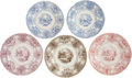 Antiques:Decorative Americana, Texian Campaigne Historical Staffordshire China: Group Lot of FiveDamaged Examples.... (Total: 5 Items)