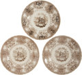 Antiques:Decorative Americana, Texian Campaigne Historical Staffordshire China: Three BrownPlates. ... (Total: 3 Items)