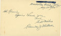 Baseball Collectibles:Others, 1955 Roderick J. Wallace Signed Government Postcard. ...