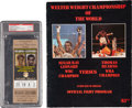 Autographs:Bats, 1981 Sugar Ray Leonard vs. Thomas Hearns Fight Program and FullTicket, PSA NM-MT 8....