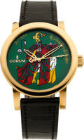 """Timepieces:Wristwatch, Corum """"Chevaliers De Monfort"""" No. 9/50 Rare Limited Edition Gold Wristwatch With Enameled Dial, circa 2004. ..."""