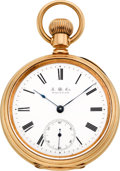 Timepieces:Pocket (pre 1900) , Waltham Rare Gold 21 Jewel American Watch Co. Model 1872, circa1885. ...