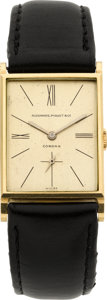 Timepieces:Wristwatch, Audemars Piguet Gold Rectangular Wristwatch, circa 1940. ...