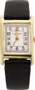 Timepieces:Wristwatch, Audemars Piguet Vintage Gent's Gold Rectangular, circa 1930's. ...