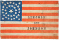 Political:Textile Display (pre-1896), Lincoln & Johnson: A Classic 1864 Campaign Flag Banner. ...
