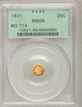 California Fractional Gold: , 1871 25C Liberty Octagonal 25 Cents, BG-714, R.3, MS65 PCGS. PCGSPopulation (42/25). NGC Census: (4/4). (#10541)...