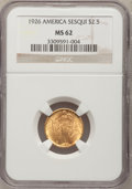 Commemorative Gold, 1926 $2 1/2 Sesquicentennial MS62 NGC. NGC Census: (1070/2601).PCGS Population (1305/8243). Mintage: 46,019. Numismedia Ws...