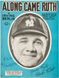 "Baseball Collectibles:Others, 1926 Christy Walsh Signed ""Along Came Ruth"" Original SheetMusic...."