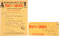 "Baseball Collectibles:Others, 1927 ""Ruth vs. Gehrig"" Stationery, Handwritten and Signed byChristy Walsh...."