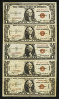 Small Size:World War II Emergency Notes, Fr. 2300 $1 1935A Hawaii Silver Certificates. Five Examples. Fine or Better.. ... (Total: 5 notes)