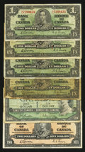 Canadian Currency: , King George VI and Elizabeth II $1 and $2 Grouping.. ... (Total: 6notes)