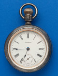 Timepieces:Pocket (post 1900), Waltham 18 Size, Sterling With Gold Locomotive. ...