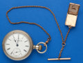 Timepieces:Pocket (post 1900), Elgin 18 Size 7 Jewel, 18 Size Pocket Watch With Chain. ...