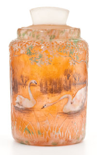 PROPERTY OF A SOUTHERN CALIFORNIA ESTATE  DAUM FRERES Pot-de-crème and cover decorated with a pair of swans