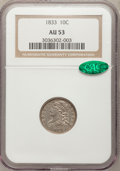 Bust Dimes: , 1833 10C AU53 NGC. CAC. NGC Census: (6/106). PCGS Population(12/173). Mintage: 485,000. Numismedia Wsl. Price for problem ...