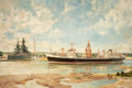 Texas, JOHN STOBART (British, 1852-1852). Taciturn in the HoustonChannel, with the Battleship Texas.. Oil on canvas. 24 x 36i...